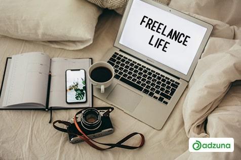 freelance laptop camera coffee