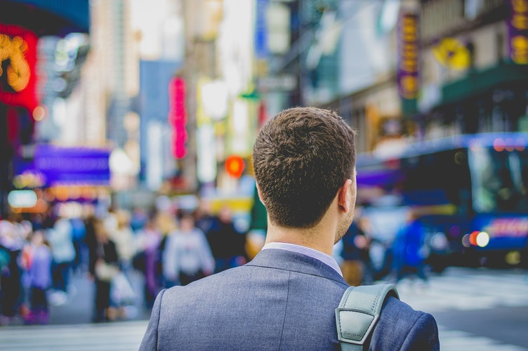 man travel abroad work job